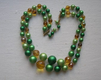 """Green & Amber Bead Multi Strand Japan Necklace 17"""" - so 60s!"""