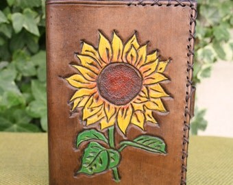 A6 Hand Tooled Brown Leather Sunflower Refillable Notebook Cover/Diary Cover/Journal Cover.