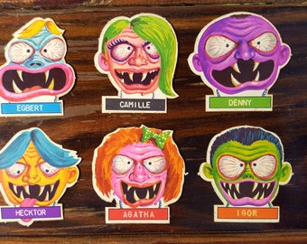 Weird-ohs stickers Monster faces 6 pack 1960's