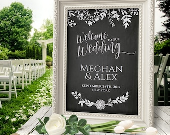 Welcome Wedding Sign Chalkboard / Welcome to our Wedding / Welcome Sign / Printable Sign / Editable PDF Template / 3 SIZES / #PTL1_03_08