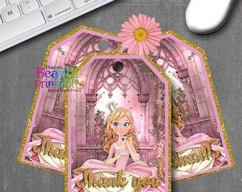 Princess Thank you Tags, Princess Tags, Birthday Tags, Printable Thank you Tags, Princess Birthday Party, Gift tags, Custom download