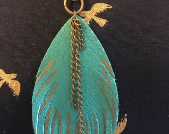 Teal Leather Feather