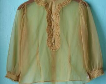 70s Sheer Gold Blouse