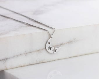 Crescent Moon Necklace, Gold Moon Necklace, 14K Gold Necklace, White Gold, Gold Star Necklace, Gift For Her, Gold Moon Star, White Gold Moon