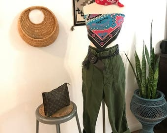 1960s -1970s- Vintage Army Pants - Flat Front - Olive Green - Sateen Cotton