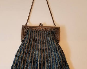 1920s Antique Whiting and Davis Style Navy Blue/ Gray Beaded Flapper Purse Art Deco