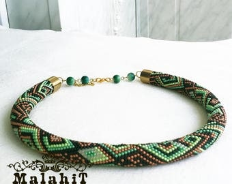 Beaded Choker Jewelry Crochet Necklace Geometric Design. Black Green Brown Gift for Her, for Mom, for Girlfriend. FOREST TALE