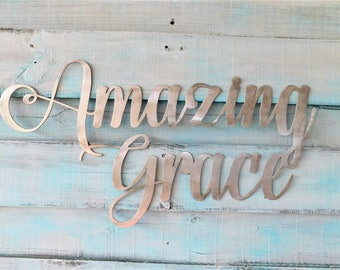 Amazing Grace Sign, Amazing Grace, Amazing Grace Metal Sign, Metal Words, Amazing Grace How Sweet The Sound Sign, Amazing Grace Wall Art