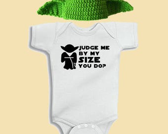 Star Wars Yoda Crochet Knitted Handmade Baby Newbon Toddler Hat and Bodysuit Onesie Set Character Costume Beanie Cosplay Con Photo Prop