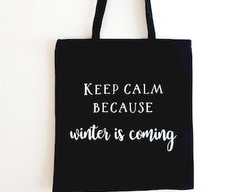 Personalised Keep Calm Black Canvas Tote Bag
