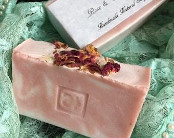 Rose and Geranium Handmade Natural Soap Vegan Rich