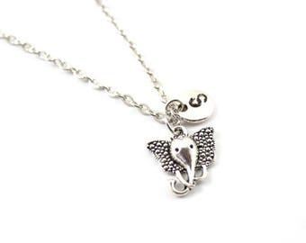 ELEPHANT charm necklace, elephant charm, personalized necklace, initial necklace, initial handstamped, personalized jewel, initial jewel