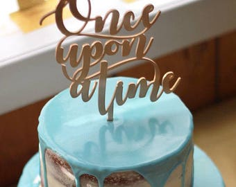 Once Upon A Time Cake Topper, Romantic Fairy-tale Cake Topper, Gold Wedding Cake Topper, Gold Cake Topper, Elegant Wedding