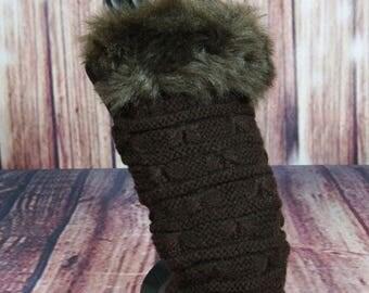 Ladies Faux Fur Topped Wrist Warmers, Hand Warmers, Fingerless Gloves in Dark Brown