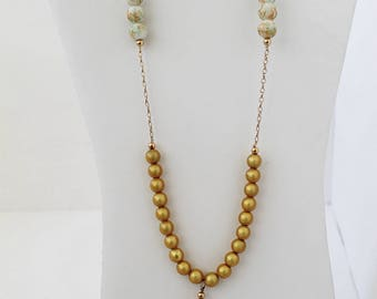 Long Necklace with Gold Filled, Gold and Clear Agates. FK
