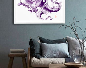 Octopus wall art print poster watercolor painting animal illustration nursery art children room decor kids wall art nursery art illustration