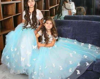 Flower Girl Dress, Butterfly Dress, Blue Dress, Ringstone Dress, Birthday Dress, Wedding Flower Girl, Christening Dress, Bridesmaid Dress
