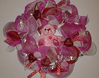 Teddy bear - wreath - pink red - heart  - love - deco mesh