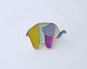 Geometric Elephant pin, origami elephant pin, origami elephant brooch,  enamel elephant pin, anime elephant pin,  geometric elephant  badge