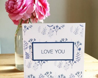 Personalised Blue Floral Card