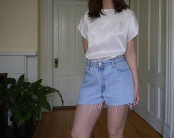 Vintage Levi's Cut Off Denim Shorts   Marked Size 12, Fits Modern Size 30   Light Wash   Zipper Fly   High Wasted Fit   Made in USA