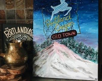 Original acrylic painting 'Portland': original art, acrylic painting, canvas art, blue, Portland, Oregon, Mount Hood, sign, sunset, wood