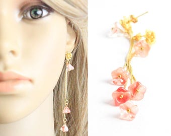 romantic earrings gold flower studs cute earrings floral jewelry pink bridesmaids gift boho earrings wife gift/for/her peach studs F233