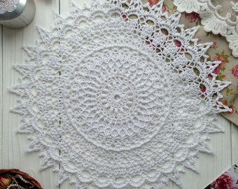 Hand crochet doily  Doily white Crochet round doily lace doily crochet tablecloth housewarming gift
