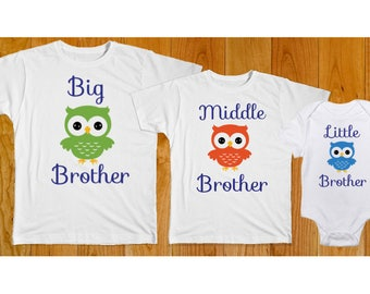 Big Middle Little Brother Matching Shirts with Owls - Matching Brother Shirts - Big Brother Middle Brother Little Brother - Brother Shirts