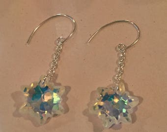 Swarovski Crystal Snowflake Sterling Silver Earrings