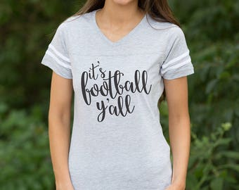 It's Football Y'all Varsity Tee Grey..Gameday Tee..Printed Tailgating Tee..Fall Tee..Preppy Game Day Tee..Grey Football Shirt