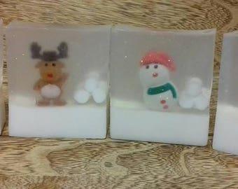 Christmas Soaps ~ Snowman, Santa, Rudolph