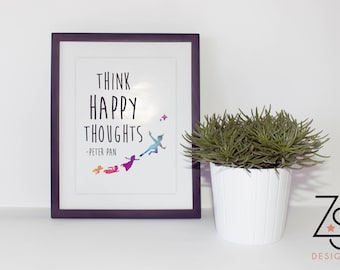 Peter Pan A4 Print - Think Happy Thoughts Quote Water Colour also available as a foiled print