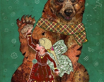 MAGIC BEARER 8x11 Fine Art Print // Bear Illustration, Bear Art Print, Whimsical, Fairy Art, Fairytale, Childrens Art, Fantasy Creatures