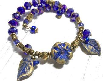 Blue And Gold Jewelry, Memory Wire Bracelet, Beaded Bracelet, Charm Bracelet, Handmade Jewelry, Boho Bracelet, Coil Bracelet With Flower