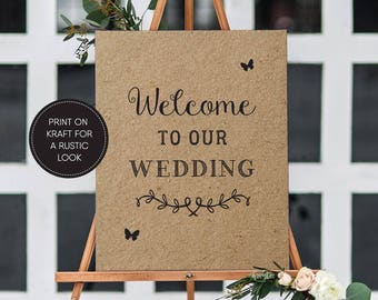 Printable Welcome Sign/ Rustic/ Welcome to our wedding sign/ Wedding sign/ Wedding printable/ PDF/ Download/ Lexie suite #031-11