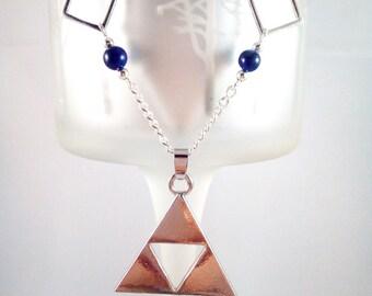 """Zelda """"Triforce"""" Lapis Lazuli Silver Necklace"""