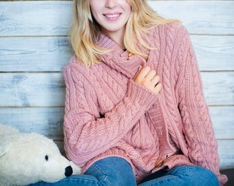 Chunky cardigan, Aran style cardigan, Aran sweater, Cable knit cardigan, Handknitted cardigan, Made-to-order, bespoke knit sweater