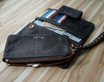 LOTUS Womens Wristlet Wallet; Italian Lambskin Leather; Black; Rose Gold Chain Wristlet, Rose Gold Emboss; Snap On/Off Pouch; Phone; Cash