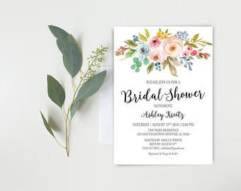 Watercolor Bridal Shower invitation, Bridal shower invitation, Rustic bridal shower invitation, Floral Bridal Shower - US_BI1207