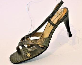 Roberto Vianni Mottled Bronze with Green Tinge Sling Back Healed Sandals/Size UK 6/Retro Shoes/1990's
