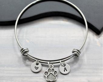 Dog Charm Bracelet - Dog Paw Bangle - Dog Mom Bangle - Paw Print Pendant - Animal Lover Gift - Moms Day Gift - Pet Gift Idea