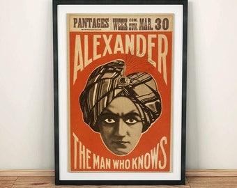 Alexander the Magician Magic Vintage Poster
