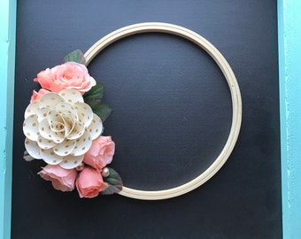 Flower Wreath, Gold Wreath, Pink Wreath, Pink Flowers, Gold Flowers, Paper Flowers, Gallery Wall, Embroidery Hoop, Photo Prop, Handmade