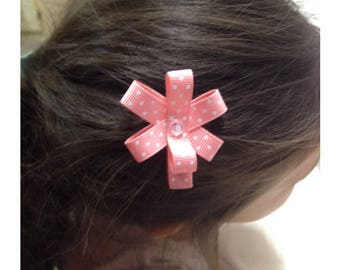 Handmade girl Ribbon pink dots - girl hair clip hair Barrette