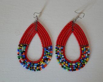 African Maasai Beaded Hoop Earrings | African jewelry earrings | Tribal Earrings | Red hoop earrings | Ethnic Earrings | Gift for Her