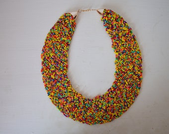 African Maasai Beaded Necklace | African Jewelry | Tribal Necklace | Chunky | Ethnic jewelry | Mixed color |One size fits all | Gift for Her
