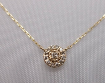 10K Yellow Gold Diamond Cluster Pendant