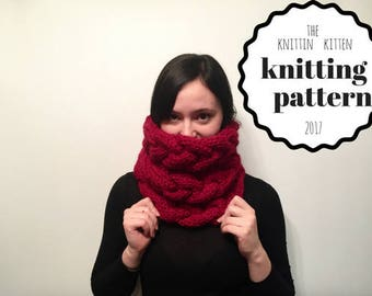 The Chartreux Cowl KNITTING PATTERN Instant Download// Braided Cable Knit Scarf Knitting Pattern // Women's Scarf Pattern