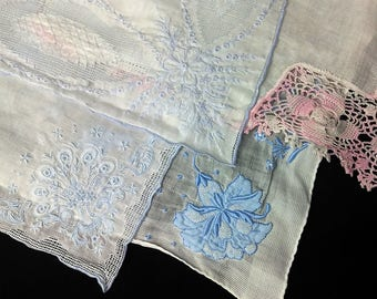 Set of 4 Vintage Handkerchiefs, White, Pale Blue, Pink, Appenzell and other Lace styles